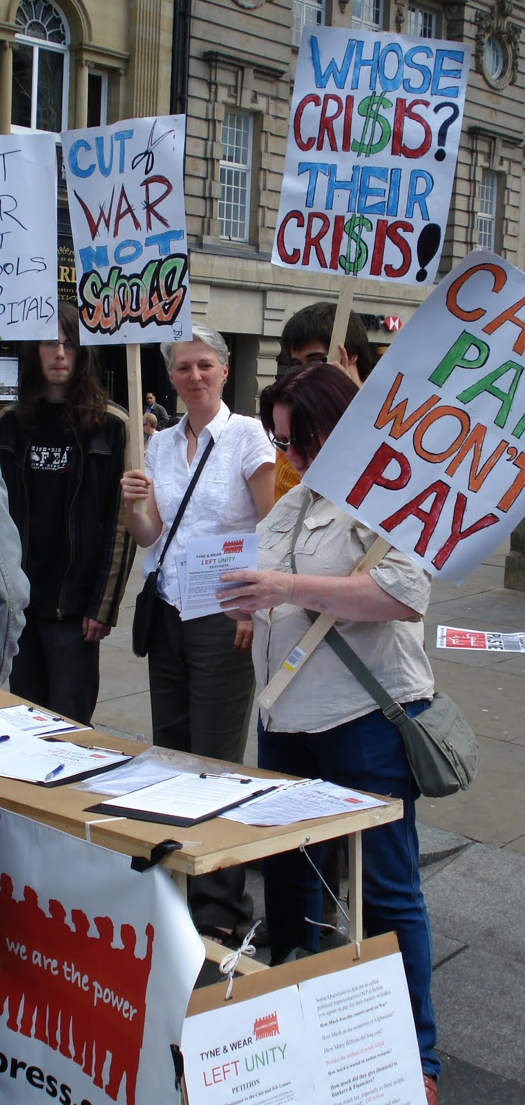 Tyne and Wear Left Unity supporters on an anti-cuts stall in Newcastle
