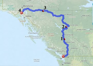 Map of car trip Bellingham WA to Skagway AK