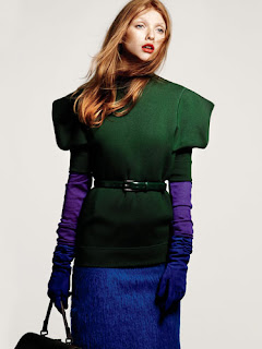 Blue, purple and Green outfit Marie Claire