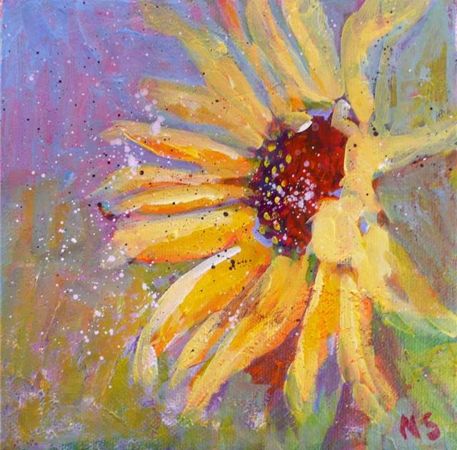 Sunflower Upcycled Acrylic Painting on 10.5 Plate