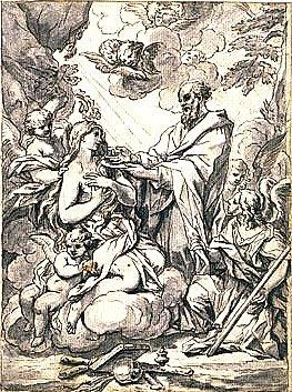 O eremita São Zózimo dá a Comunhão a Santa Maria do Egito no deserto. Desenho do final do Século XVII