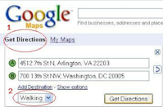 Google Maps select Walking