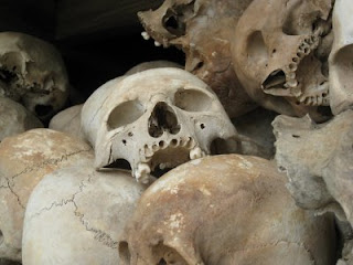 Skulls of the victims of the Khmer Rouge