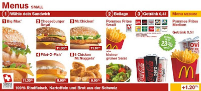 McDonald's Switzerland menu