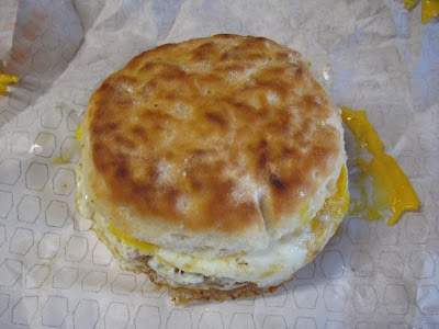 Jack in the Box Sausage, Egg, and Cheese Biscuit top view