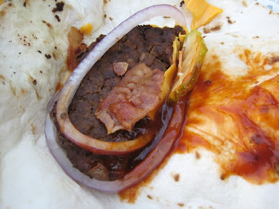 Chipotle BBQ Bacon Angus Snack Wrap unwrapped from a different angle