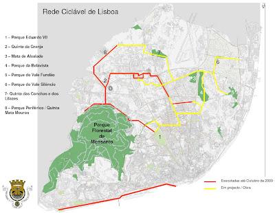 mapa lisboa cml NézClinas a Pedais e outros que tais: Mapa das CICLÓVIAS de LISBOA  mapa lisboa cml