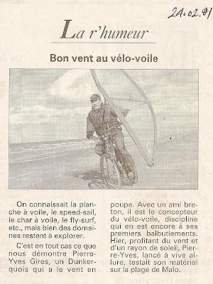 pierre-yves gires vélo a voile la voix du nord 2001