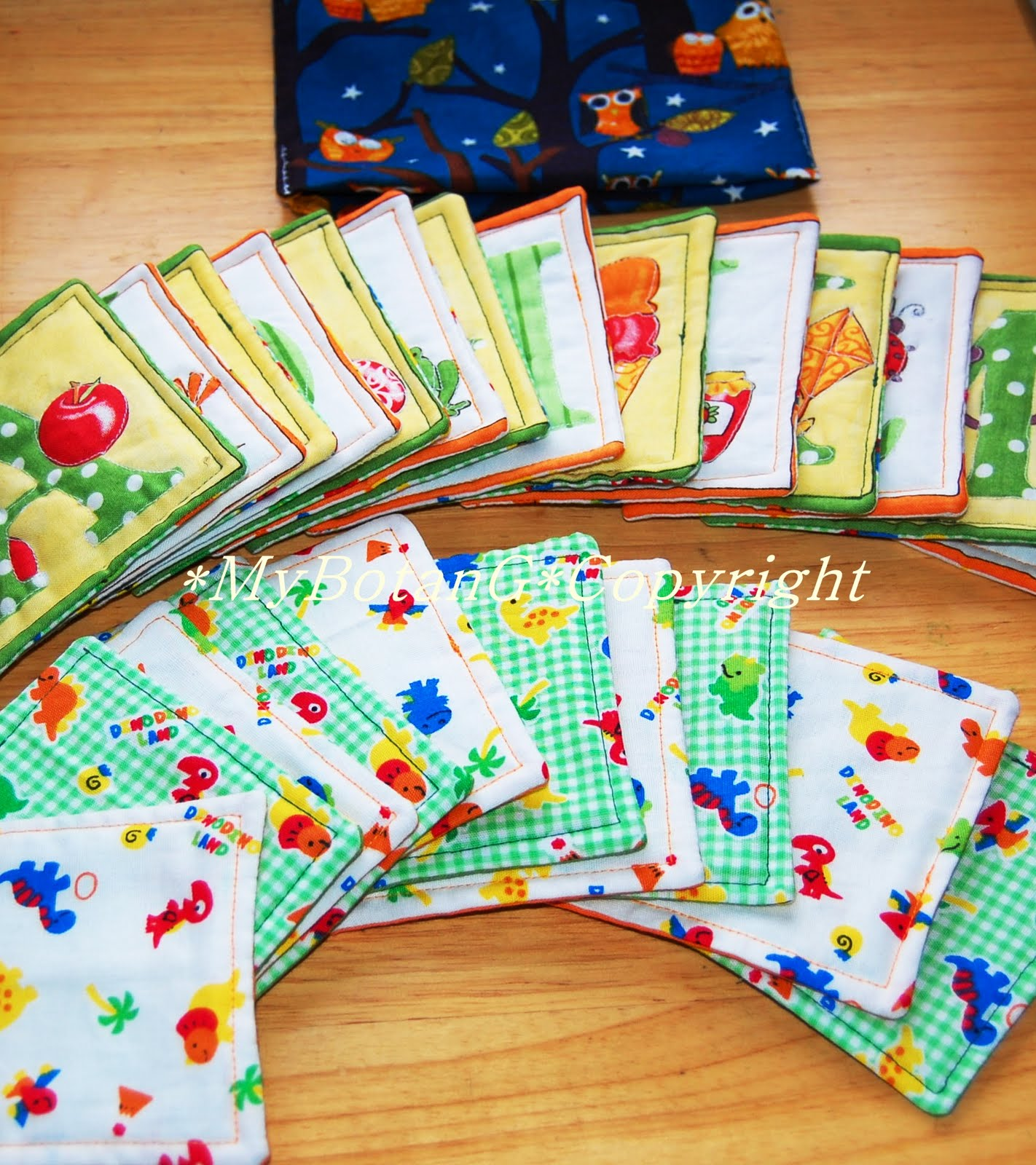 Mybotang fabric scrap series cards - C Comes In Drawstring Bag