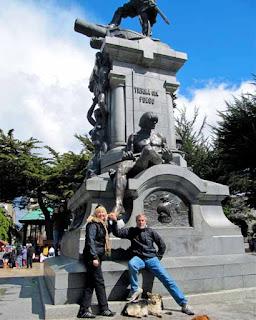 Touching Patagon in Plaza Munoz Gamero Punta Arenas
