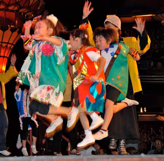 Japanese Children Preform Squid Dance Hakodate Japan