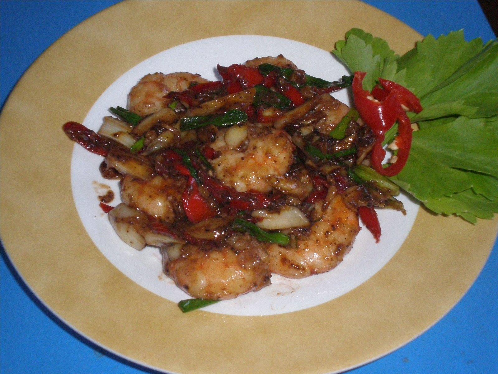 Resep Masakan Indonesia - Udang Goreng Saus Tiram