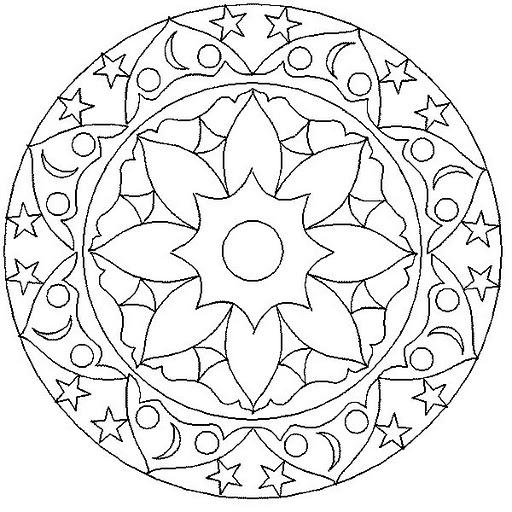 Mandalas Para Pintar Mandala Con Flor Circulos Y Estrellas