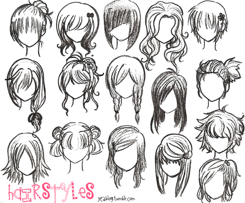 Anime Girl Hairstyles Drawings: Heather & Lace: Anime Hairstyles