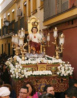 Religious procession in sevilla or Seville, barrio of Triana