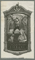 "A bookplate set within an ornamental border, showing a woman holding flowers and a dog. Behind them is Douglas Fairbanks' Zorro. The text in the plate reads ""Douglas and Mary Fairbanks from among their books."""