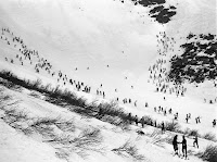 A photograph of skiers on a hill at a distance.