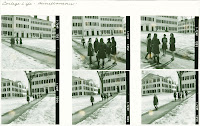 Several photographs of women on a snowy campus.