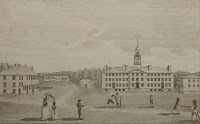 An illustration of figures playing on a college lawn.
