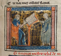 An illuminated illustration of two figures speaking over an open book.