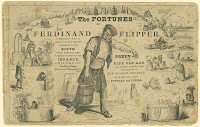 "An illustration featuring  the central image of a man in work clothes hauling a bucket, surrounded by the title ""The Fortunes fo Ferdinand Flipper."" Around him are several smaller images of people engaged in various activities, such as fishing and bathing. A long secondary title is also included."