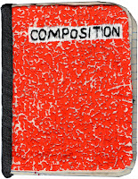 A cover page embroidered to resemble a red composition notebook.