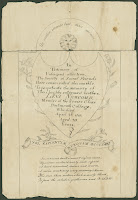 "A drawing of a gravestone design including a sun with a face and some light botanical detailing. The central text reads ""In testimony of unfeigned affection, the Society of Social Friends have consecrated this marble to perpetuate the memory of their highly esteemed brother, Levi Newcomb, member of the senior class Dartmouth College; who died April 23 1810, aged 20 years."""