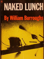 "A cover for Burrough's ""Naked Lunch"" with white and red text on a yellow-toned background."