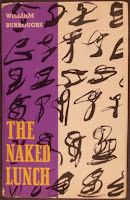 "A cover for Burrough's ""The Naked Lunch"" with yellow text on a purple and beige background with black designs."