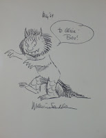 A sketch of one of the Wild Things, inscribed to Alicia from Maurice Sendak.