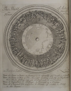 A detailed illustration of the shield of Achilles, decorated with many figures.