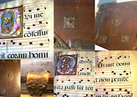 A collection of photographs showing the cover and interior of an antiphonal.