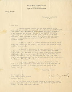 A typed letter on Dartmouth College letterhead.