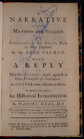 "A title page for ""A Narrative of the Method and Success of Inoculating the Small Pox in New England."""