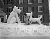 A black and white photograph of a small dog seated between two dogs formed from snow.