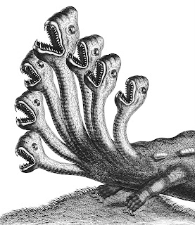An illustration of a seven-headed hydra with its mouths open.