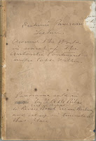 "The cover for a manuscript, featuring handwritten text beginning with ""Erskine's panorama lecture."""