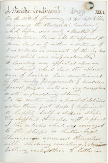 """A page of handwriting with the header """"Antarctic Continent."""""""