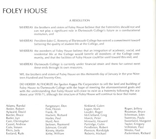 A printed resolution by Foley House.