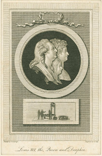 An engraved portrait of Louis XVI with his wife and child, above a separate picture of figures gathered around a guillotine.