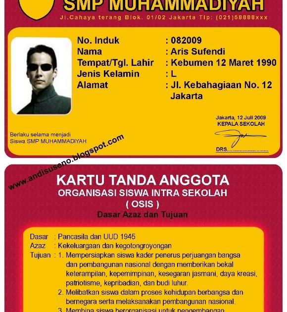 Desain Kartu Pelajar, Id card, member card - ANDI SUSENO BLOG