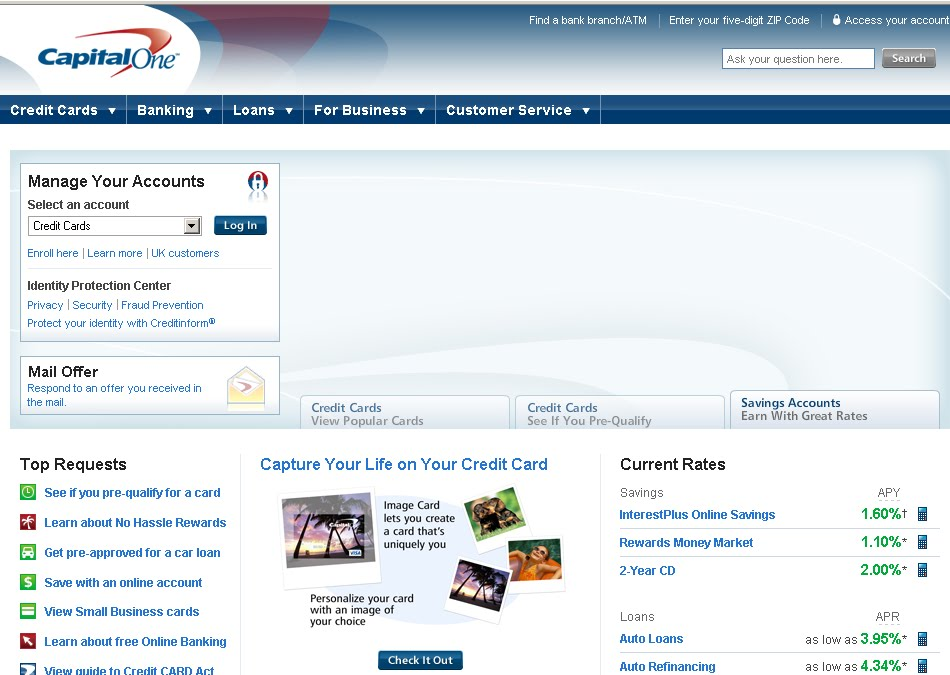 capital one online banking account management