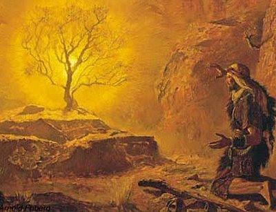 Representação artística do momento do chamado de Moisés, no monte de Deus, conforme descrito no livro do Êxodo, cap. 3. Foi aqui que, segundo a Bíblia, desenvolveu-se aquele diálogo, no mínimo curioso, no qual Deus se revela como O Deus; ilimitado, portanto único.