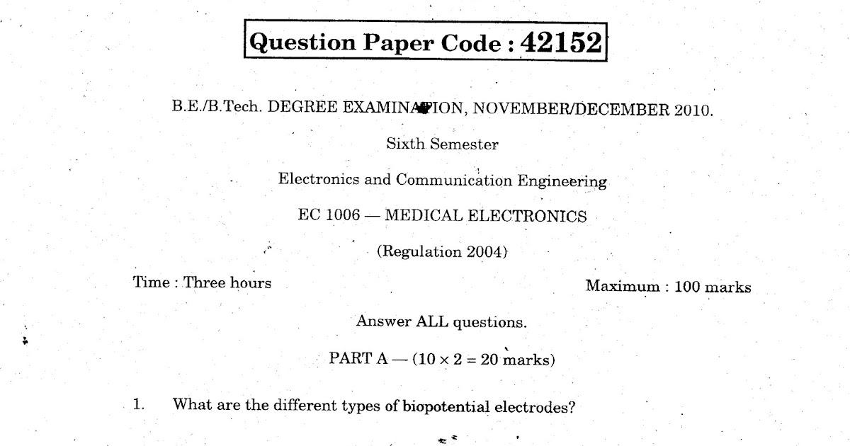 Anna University Question Bank Medical Electronics