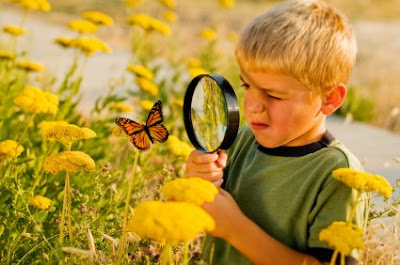 NAMC getting back to nature boy looking at butterfly magnifying glass