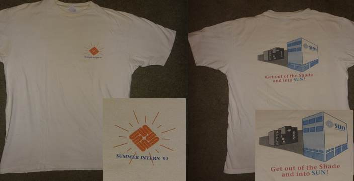 Sun Microsystems intern T-shirt 1991.