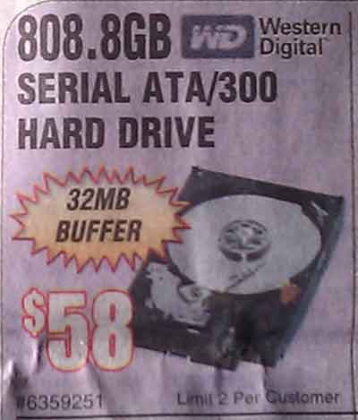 Frys Ad for 808.8GB drive, $58