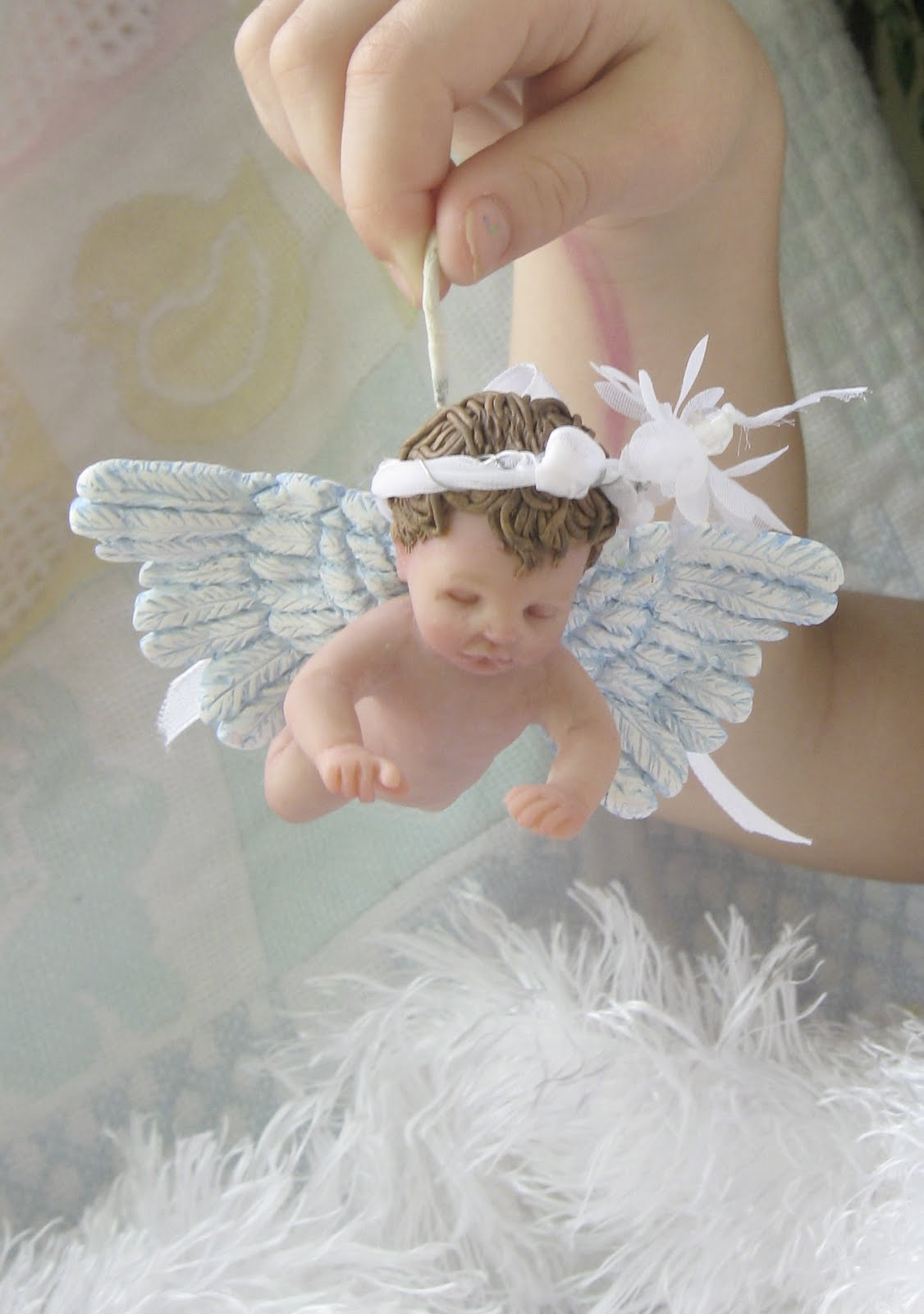 one of a kind art by catherine ooak angel baby girl ornament art