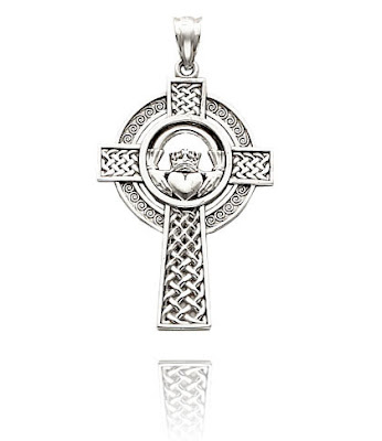 White Gold Celtic Claddagh Cross