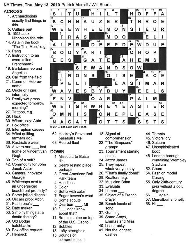 Print todays new york times crossword puzzle